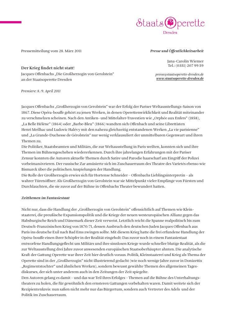 Pressemitteilung vom 28. März 2011                                           Presse und Öffentlichkeitsarbeit             ...