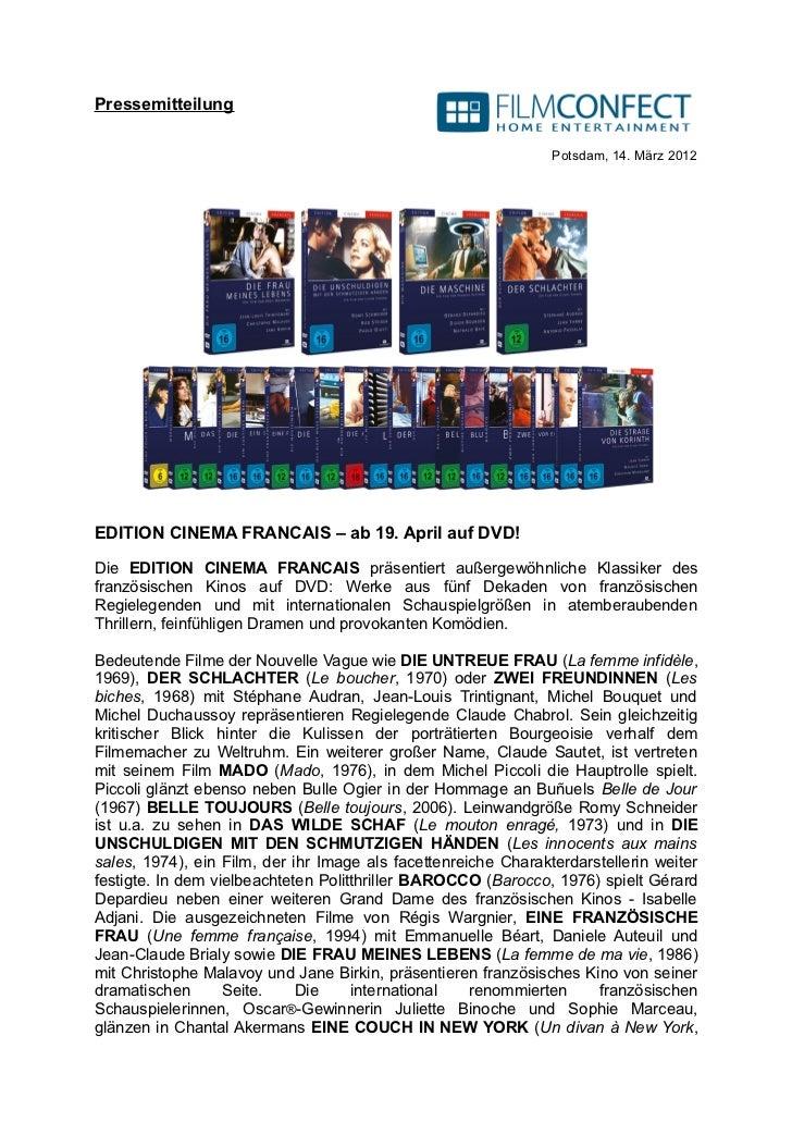 Pressemitteilung                                                                Potsdam, 14. März 2012EDITION CINEMA FRANC...