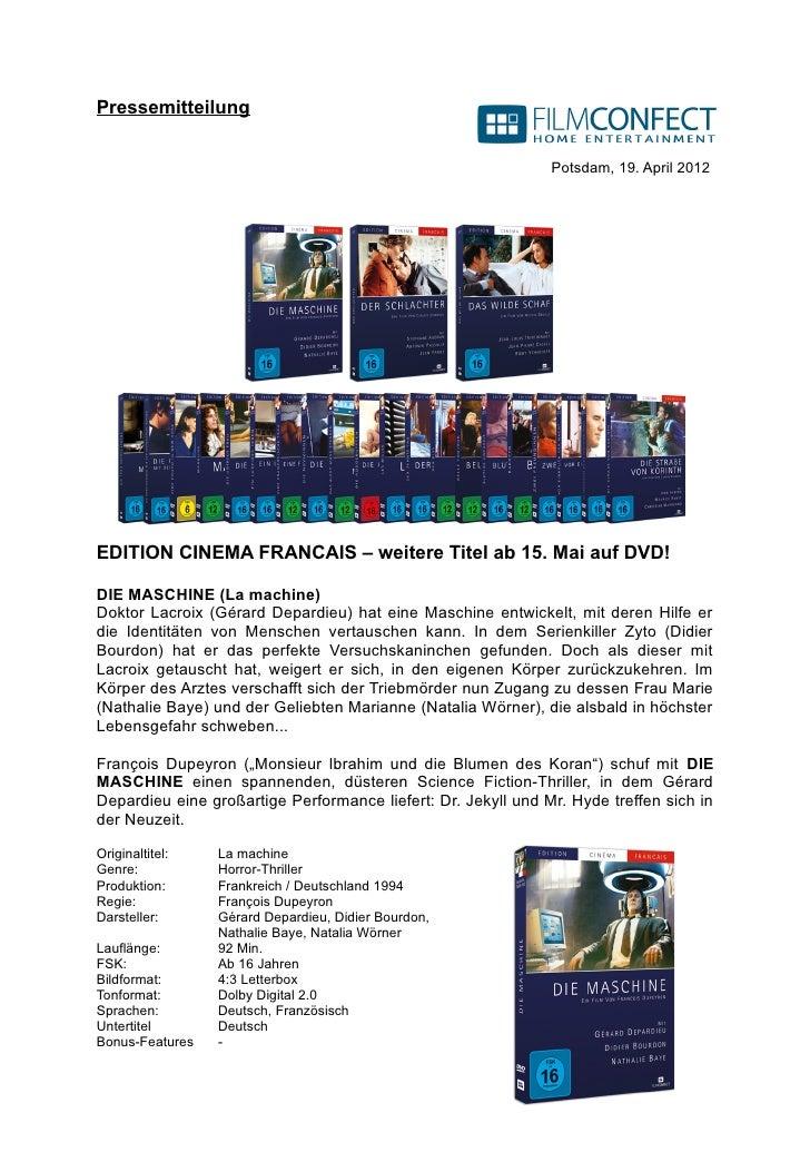 Pressemitteilung                                                               Potsdam, 19. April 2012EDITION CINEMA FRANC...