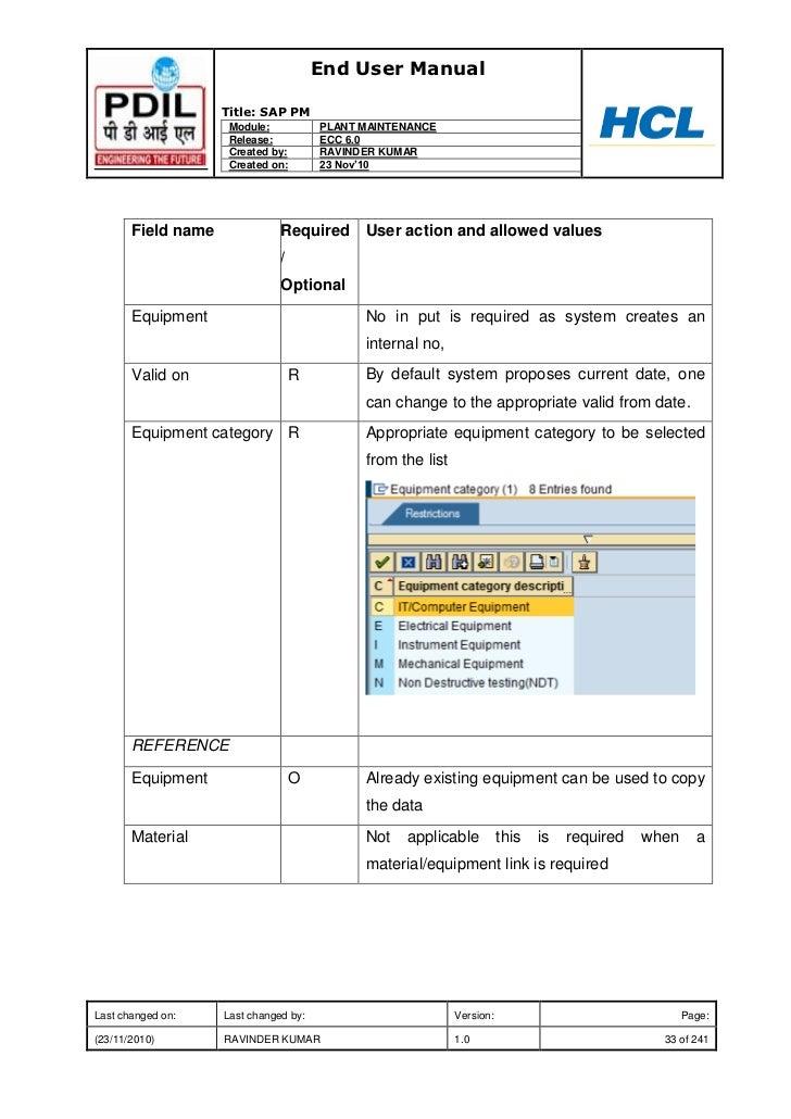 End User Manual                    Title: SAP PM                     Module:           PLANT MAINTENANCE                  ...