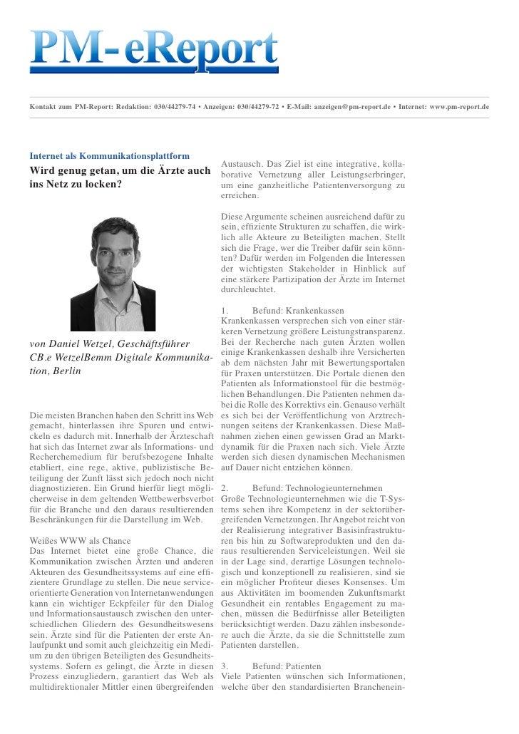 Kontakt zum PM-Report: Redaktion: 030/44279-74 • Anzeigen: 030/44279-72 • E-Mail: anzeigen@pm-report.de • Internet: www.pm...