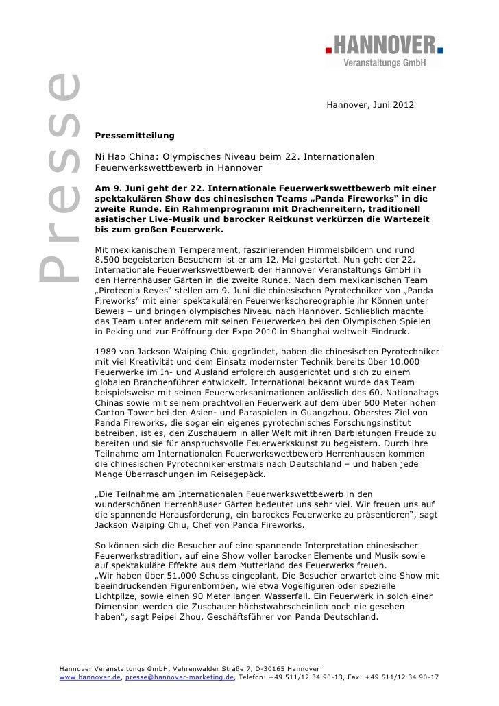 Presse                                                                         Hannover, Juni 2012           Pressemitteil...