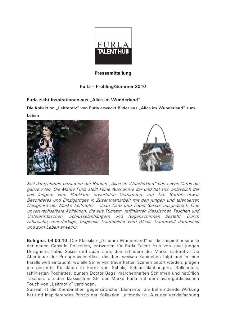 """Pressemitteilung                         Furla – Frühling/Sommer 2010Furla zieht Inspirationen aus """"Alice im Wunderland""""Di..."""