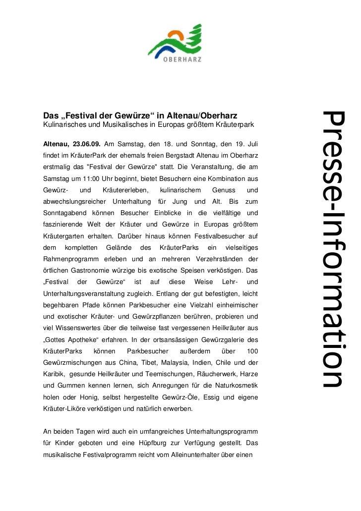 """Das """"Festival der Gewürze"""" in Altenau/OberharzKulinarisches und Musikalisches in Europas größtem KräuterparkAltenau, 23.06..."""