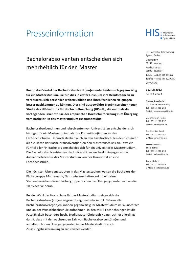 Bachelorabsolventen entscheiden sichmehrheitlich für den MasterKnappdreiViertelderBachelorabsolvent(inn)en...