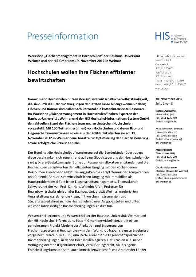 """Workshop """"Flächenmanagement in Hochschulen"""" der Bauhaus-UniversitätWeimar und der HIS GmbH am 19. November 2012 in WeimarH..."""