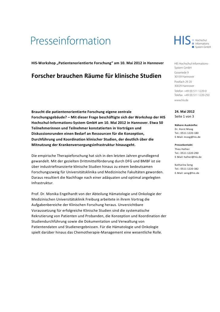 """HIS-Workshop """"Patientenorientierte Forschung"""" am 10. Mai 2012 in HannoverForscher brauchen Räume für klinische StudienBrau..."""