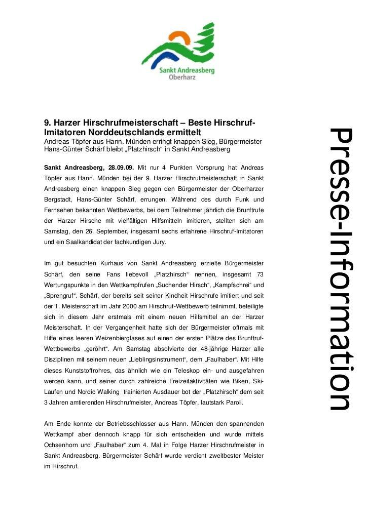 9. Harzer Hirschrufmeisterschaft – Beste Hirschruf-Imitatoren Norddeutschlands ermitteltAndreas Töpfer aus Hann. Münden er...