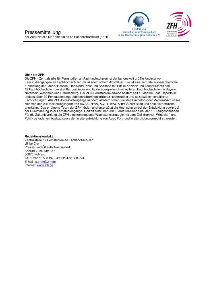 Pressemitteilungder Zentralstelle für Fernstudien an Fachhochschulen (ZFH)Über die ZFHDie ZFH - Zentralstelle für Fernstud...