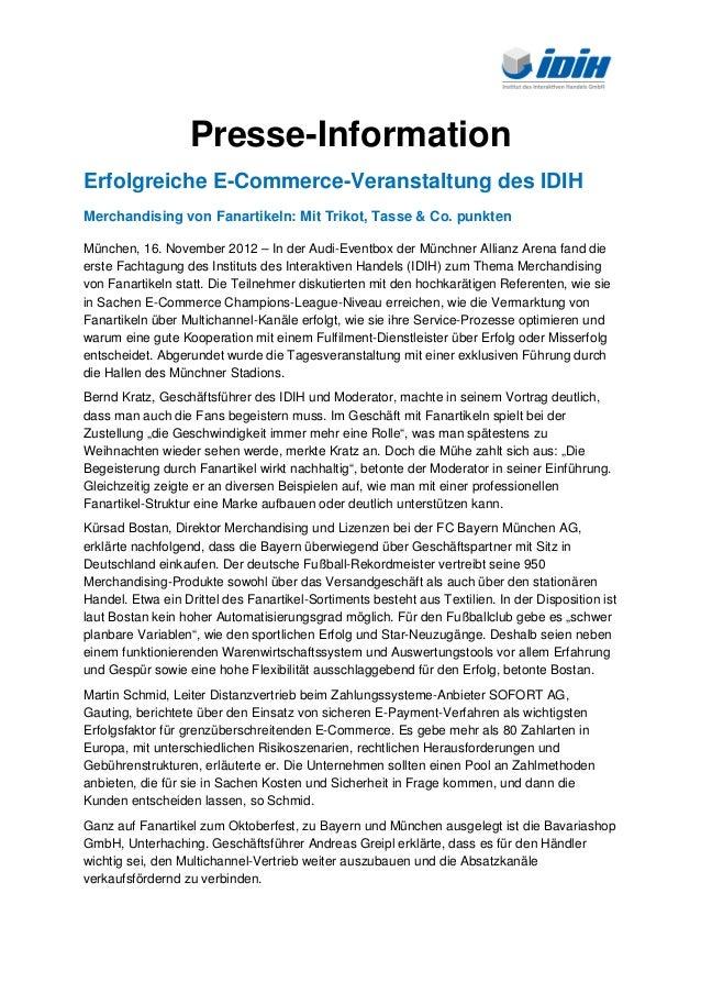 Presse-InformationErfolgreiche E-Commerce-Veranstaltung des IDIHMerchandising von Fanartikeln: Mit Trikot, Tasse & Co. pun...
