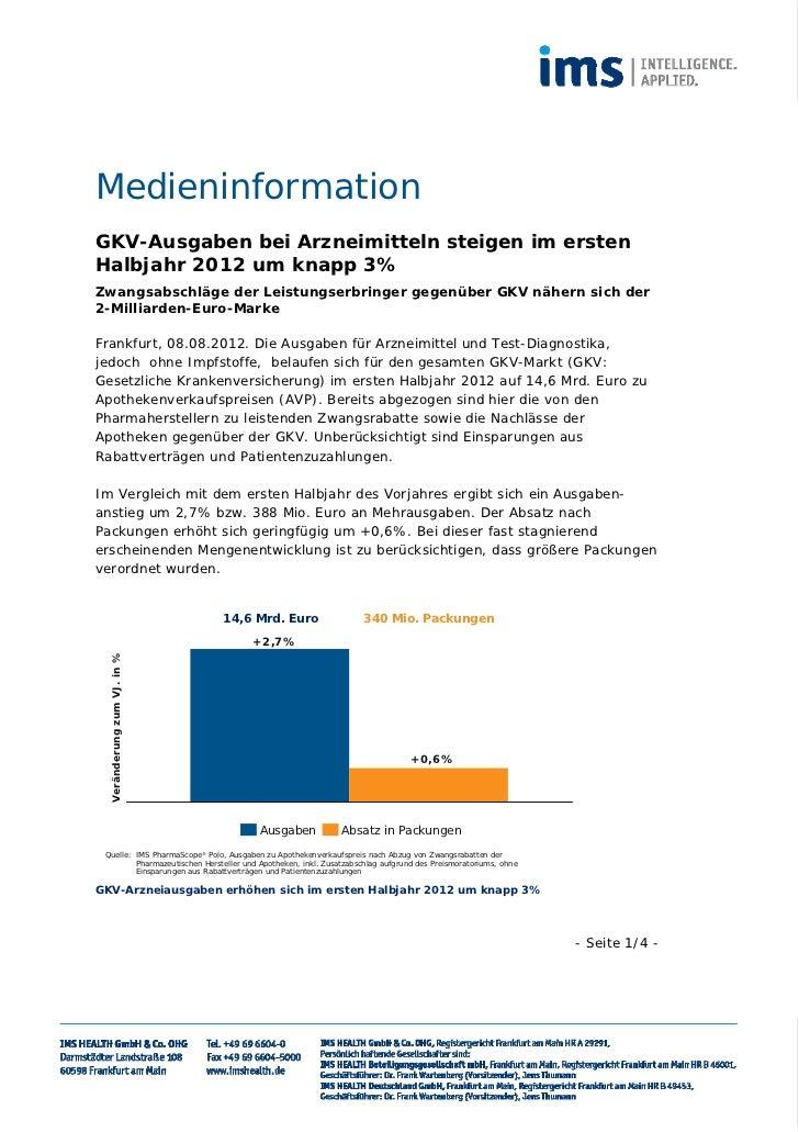 MedieninformationGKV-Ausgaben bei Arzneimitteln steigen im erstenHalbjahr 2012 um knapp 3%Zwangsabschläge der Leistungserb...
