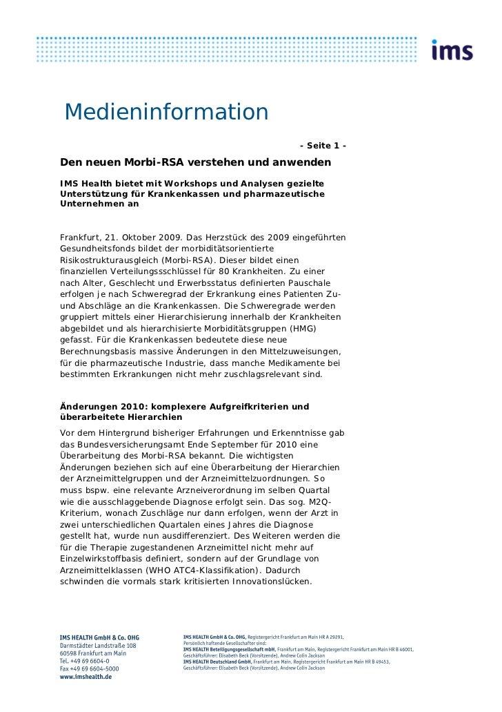 Medieninformation                                                       - Seite 1 -Den neuen Morbi-RSA verstehen und anwen...