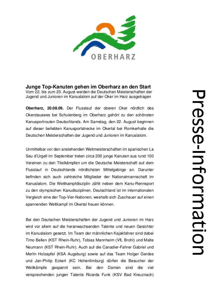 Junge Top-Kanuten gehen im Oberharz an den StartVom 22. bis zum 23. August werden die Deutschen Meisterschaften derJugend ...