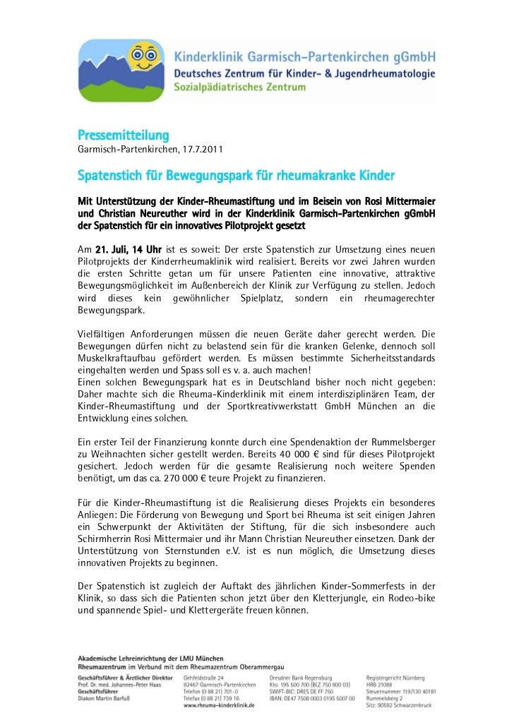 PressemitteilungGarmisch-Partenkirchen, 17.7.2011Spatenstich für Bewegungspark für rheumakranke KinderMit Unterstützung de...