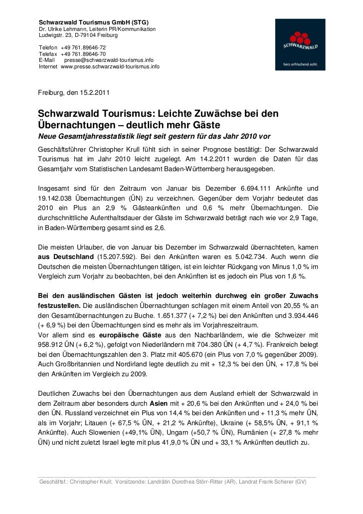 Schwarzwald Tourismus GmbH (STG)Dr. Ulrike Lehmann, Leiterin PR/KommunikationLudwigstr. 23, D-79104 FreiburgTelefon +49 76...