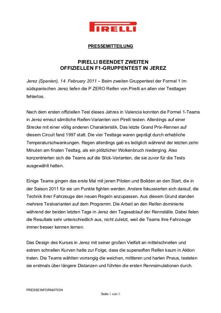 PRESSEMITTEILUNG                       PIRELLI BEENDET ZWEITEN                 OFFIZIELLEN F1-GRUPPENTEST IN JEREZJerez (S...