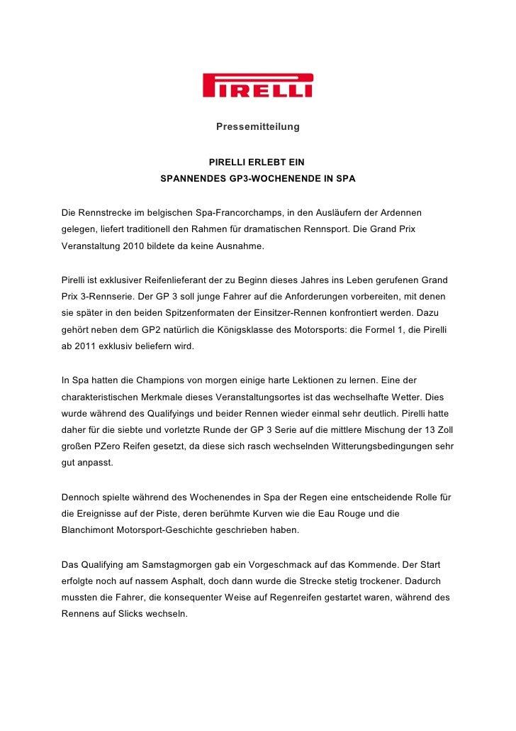 Pressemitteilung                                   PIRELLI ERLEBT EIN                       SPANNENDES GP3-WOCHENENDE IN S...