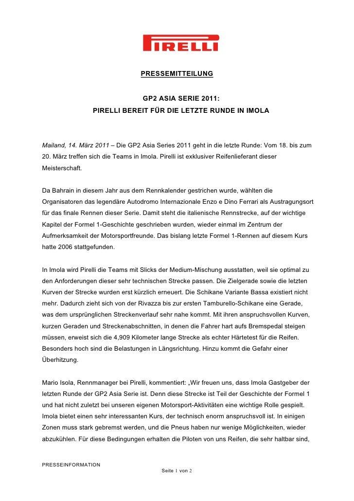 PRESSEMITTEILUNG                                     GP2 ASIA SERIE 2011:                  PIRELLI BEREIT FÜR DIE LETZTE R...
