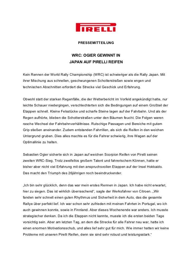 PRESSEMITTEILUNG                               WRC: OGIER GEWINNT IN                             JAPAN AUF PIRELLI REIFENK...