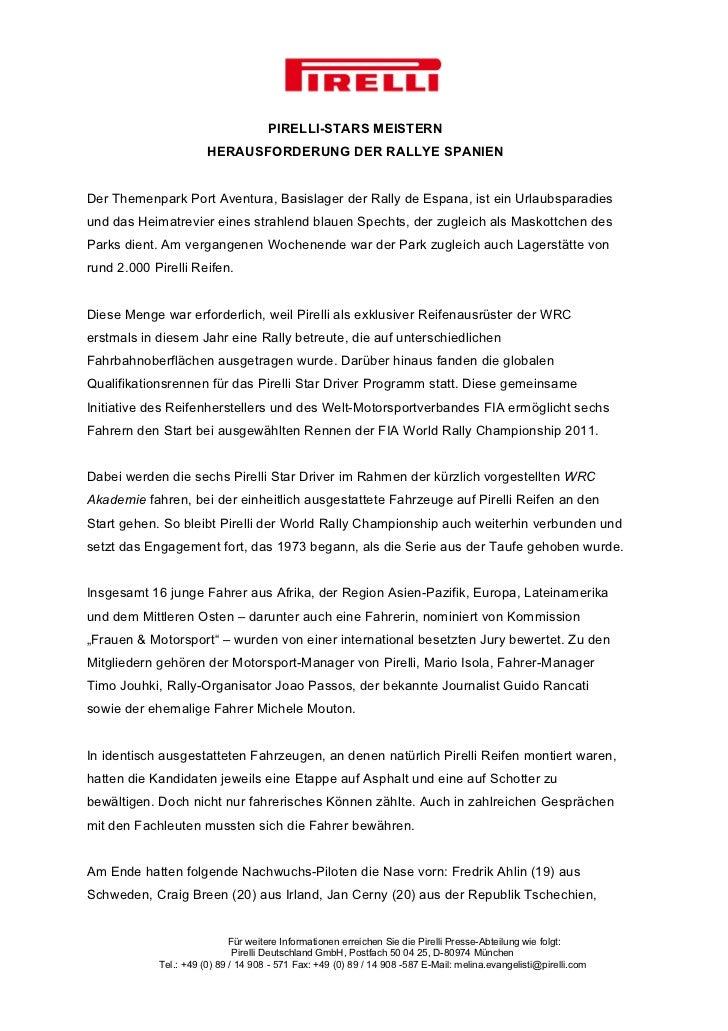 PIRELLI-STARS MEISTERN                       HERAUSFORDERUNG DER RALLYE SPANIENDer Themenpark Port Aventura, Basislager de...