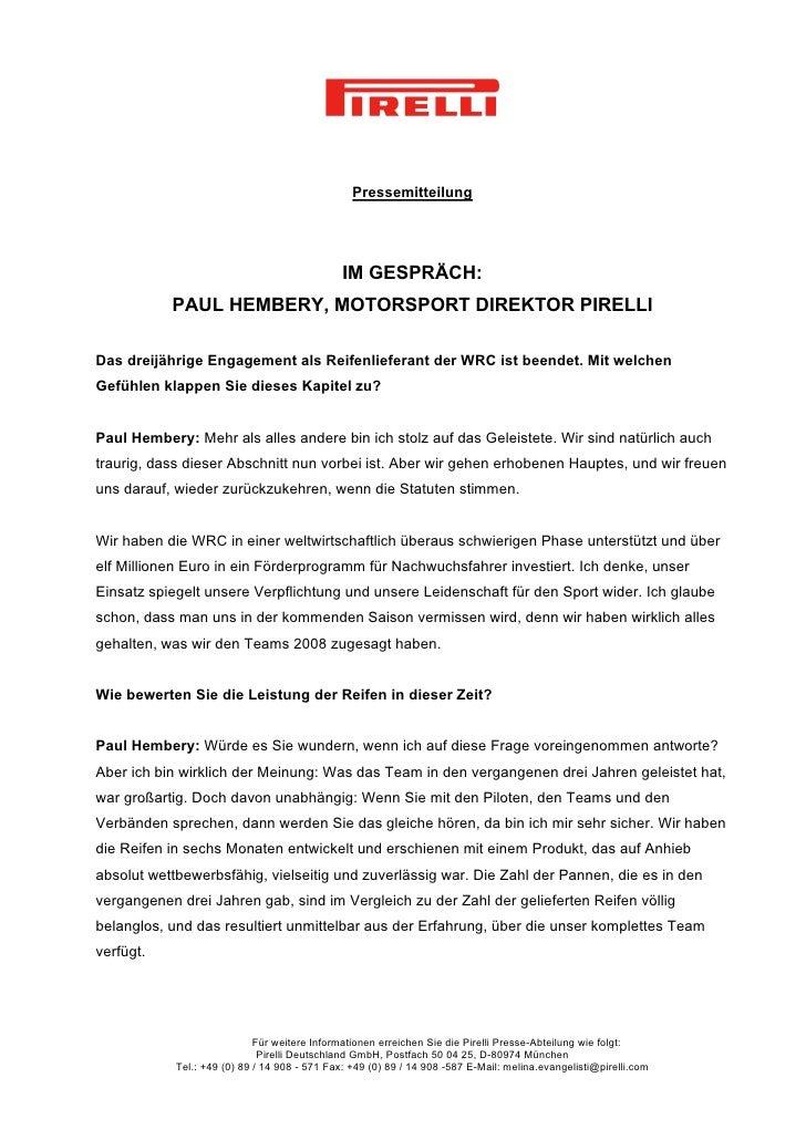 Pressemitteilung                                               IM GESPRÄCH:           PAUL HEMBERY, MOTORSPORT DIREKTOR PI...
