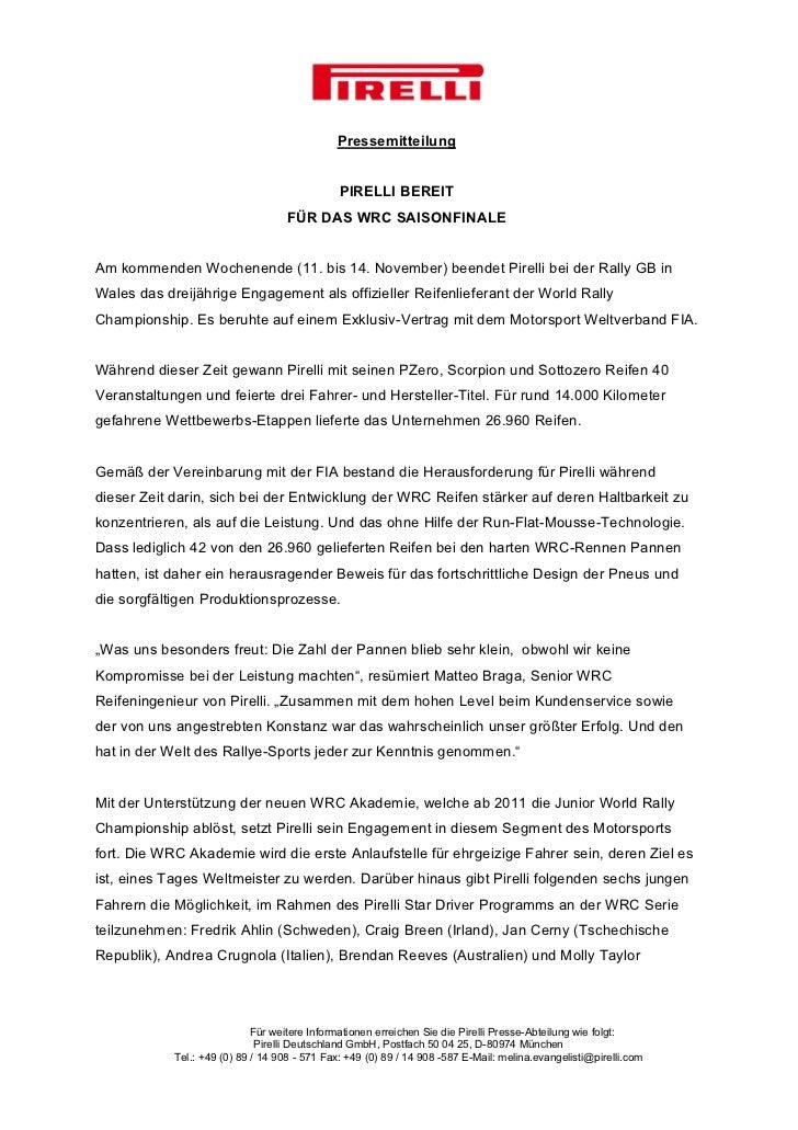Pressemitteilung                                               PIRELLI BEREIT                                    FÜR DAS W...