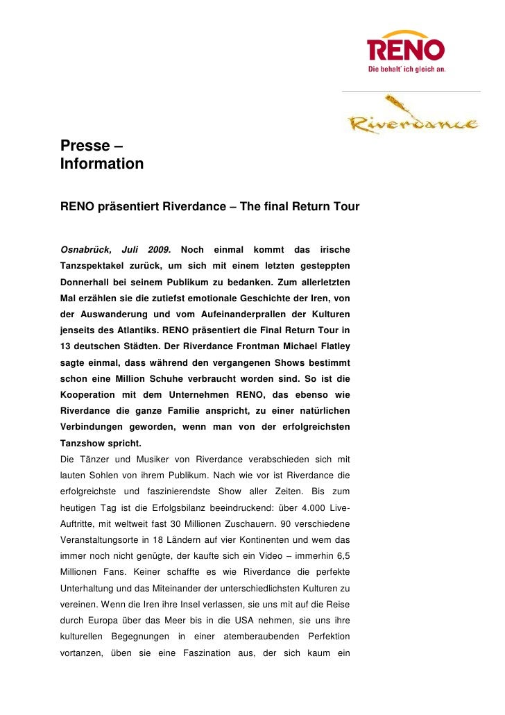 Presse –InformationRENO präsentiert Riverdance – The final Return TourOsnabrück,     Juli   2009.   Noch   einmal    kommt...