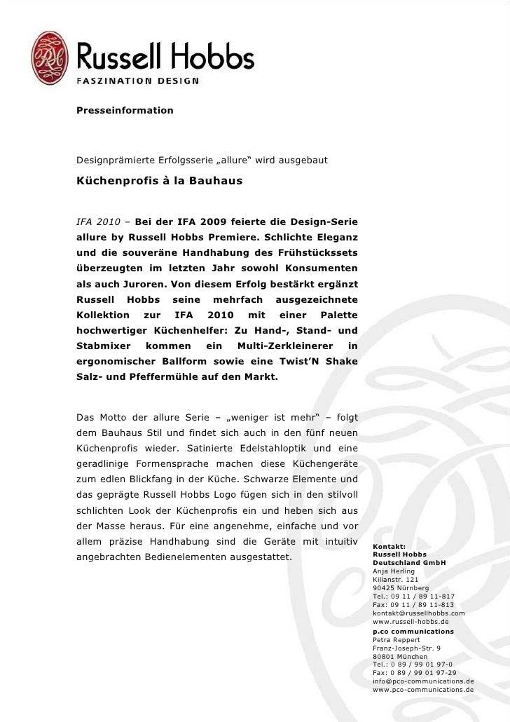 """PresseinformationDesignprämierte Erfolgsserie """"allure"""" wird ausgebautKüchenprofis à la BauhausIFA 2010 – Bei der IFA 2009 ..."""