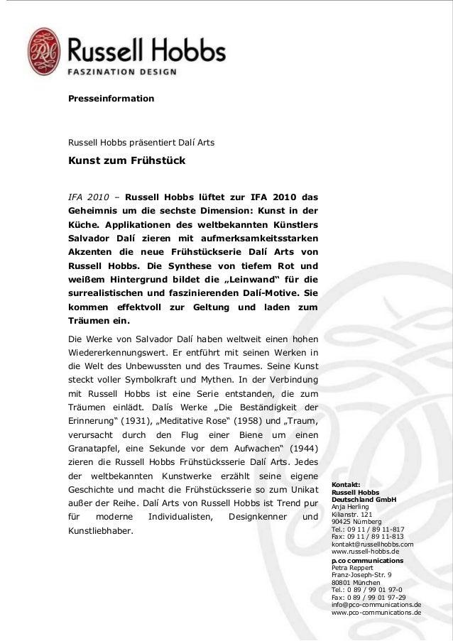 Presseinformation Kontakt: Russell Hobbs Deutschland GmbH Anja Herling Kilianstr. 121 90425 Nürnberg Tel.: 09 11 / 89 11-8...