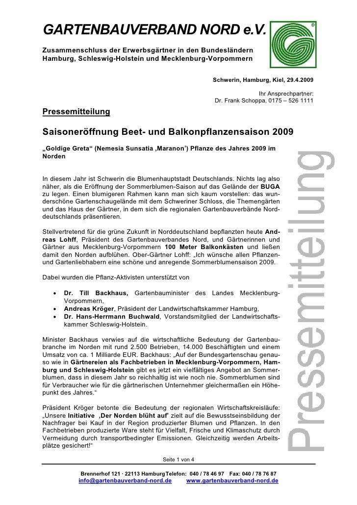GARTENBAUVERBAND NORD e.V.Zusammenschluss der Erwerbsgärtner in den BundesländernHamburg, Schleswig-Holstein und Mecklenbu...