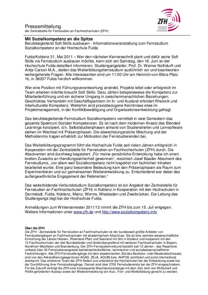 Pressemitteilungder Zentralstelle für Fernstudien an Fachhochschulen (ZFH)Mit Sozialkompetenz an die SpitzeBerufsbegleiten...