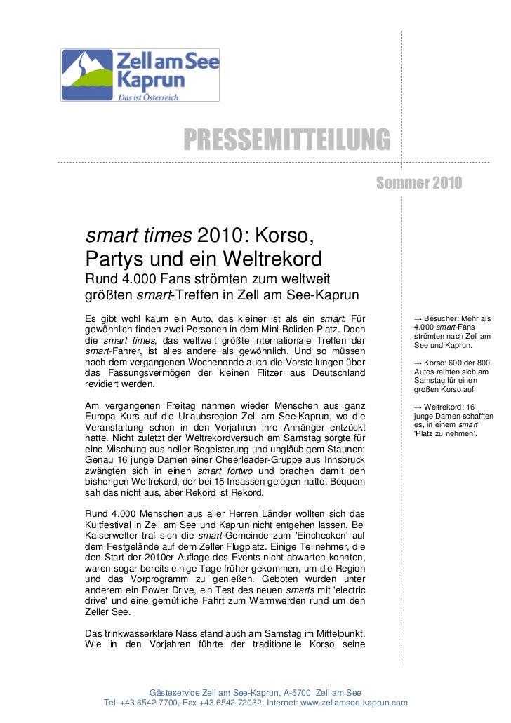 PRESSEMITTEILUNG                                                                      Sommer 2010smart times 2010: Korso,P...