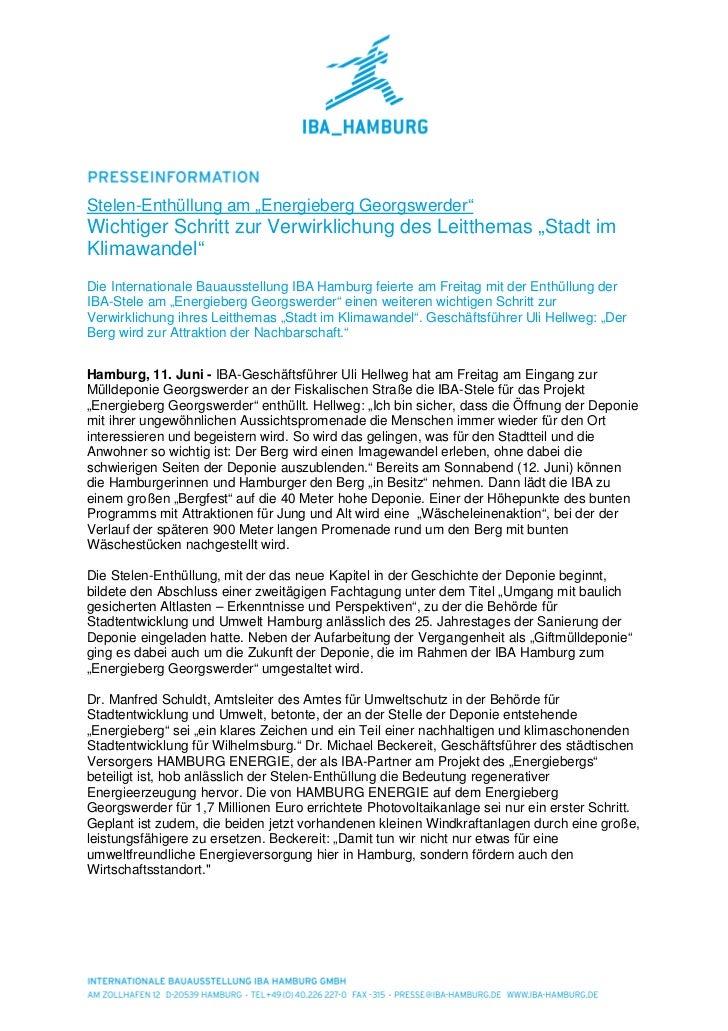 """Stelen-Enthüllung am """"Energieberg Georgswerder""""Wichtiger Schritt zur Verwirklichung des Leitthemas """"Stadt imKlimawandel""""Di..."""