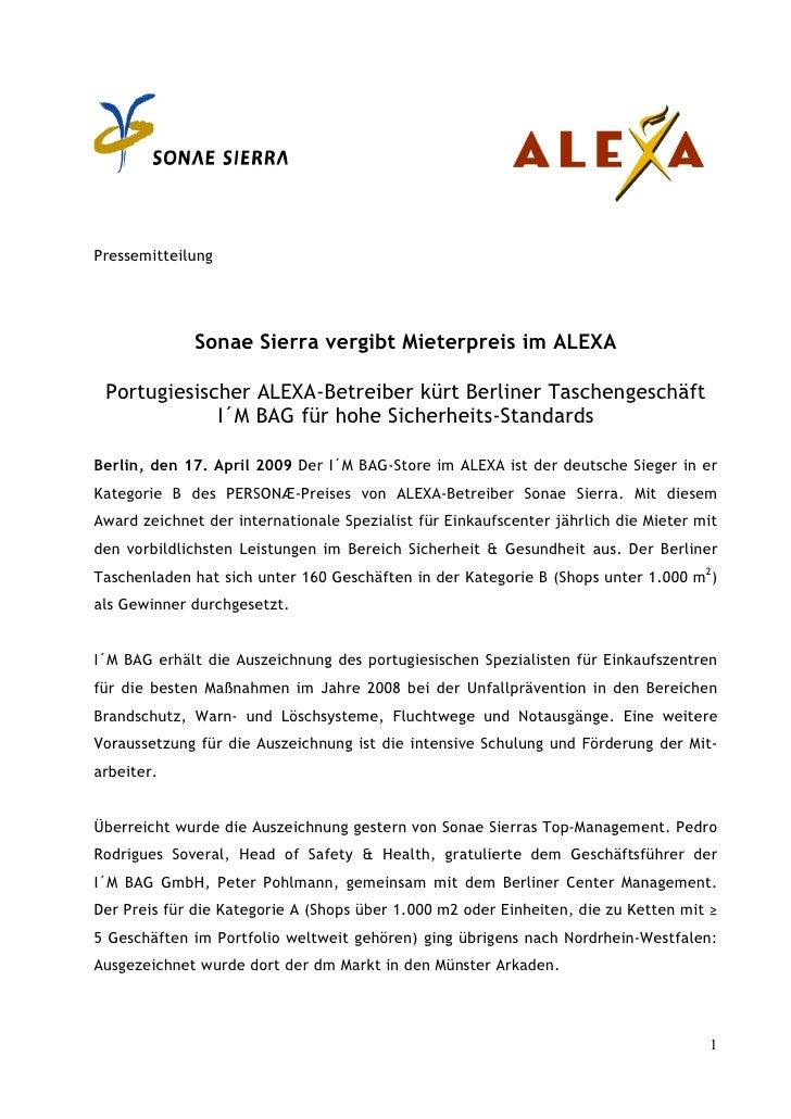 Pressemitteilung              Sonae Sierra vergibt Mieterpreis im ALEXA Portugiesischer ALEXA-Betreiber kürt Berliner Tasc...