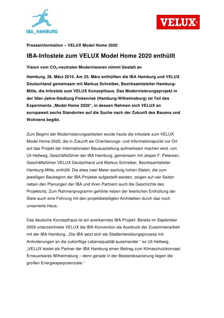 Presseinformation – VELUX Model Home 2020IBA-Infostele zum VELUX Model Home 2020 enthülltVision vom CO2-neutralen Modernis...