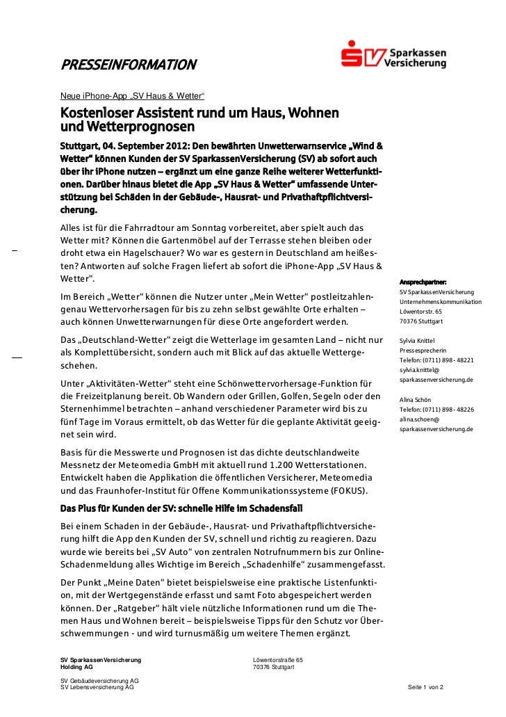 """PRESSEINFORMATIONNeue iPhone-App """"SV Haus & Wetter""""Kostenloser Assistent rund um Haus, Wohnenund WetterprognosenStuttgart,..."""