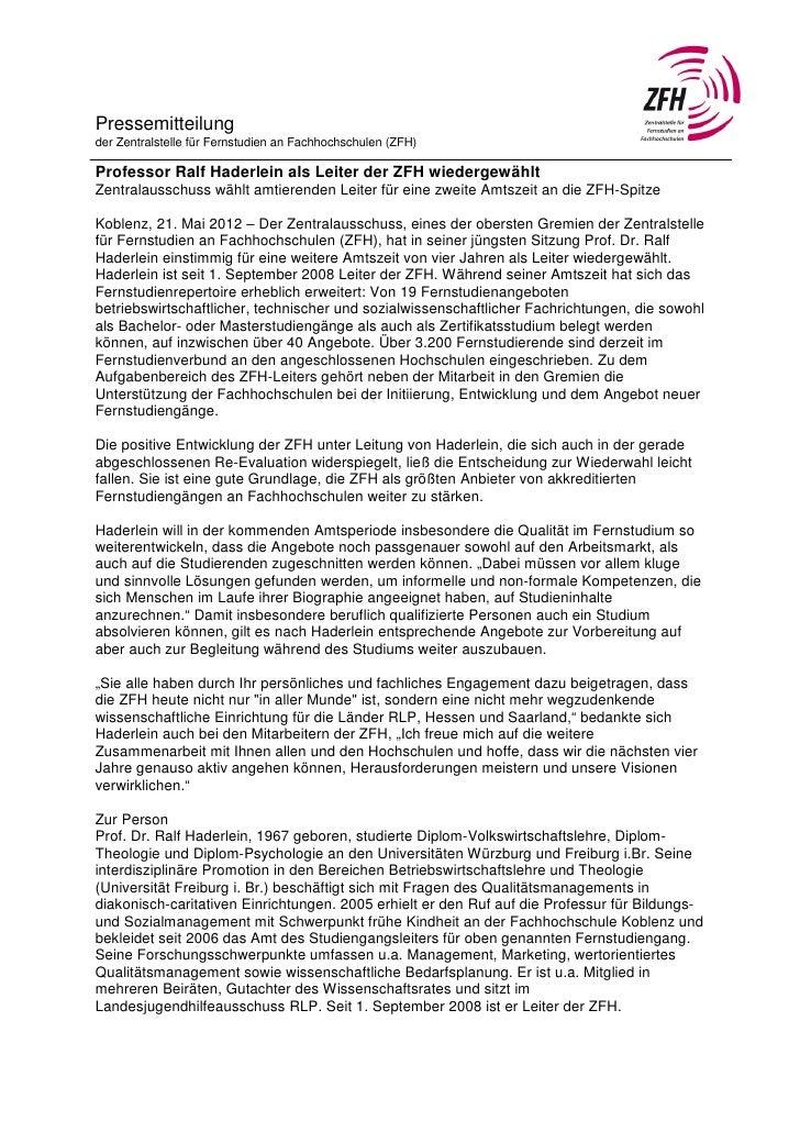 Pressemitteilungder Zentralstelle für Fernstudien an Fachhochschulen (ZFH)Professor Ralf Haderlein als Leiter der ZFH wied...