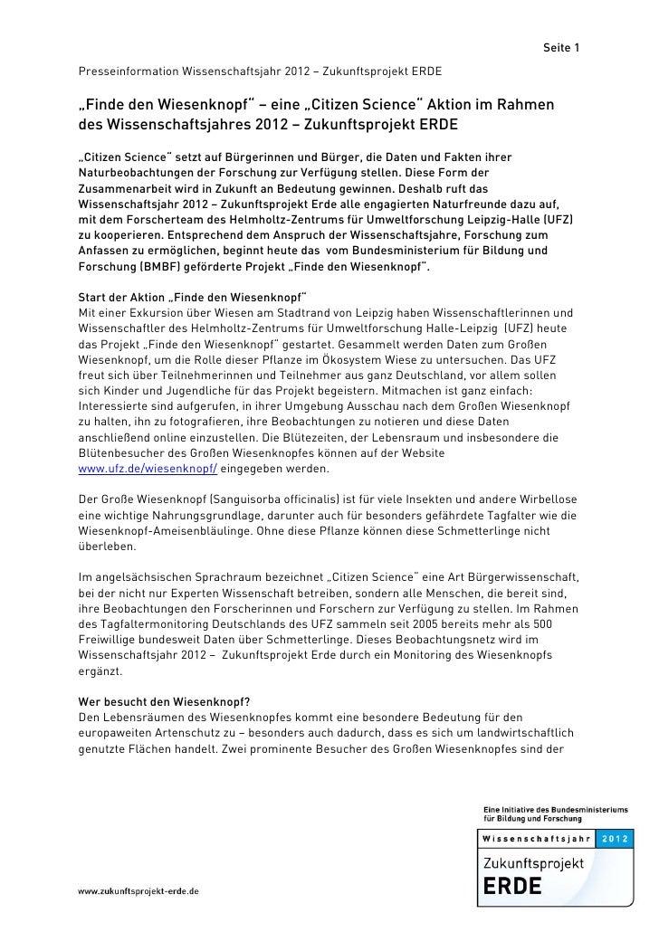 """Seite 1Presseinformation Wissenschaftsjahr 2012 – Zukunftsprojekt ERDE""""Finde den Wiesenknopf"""" – eine """"Citizen Science"""" Ak..."""