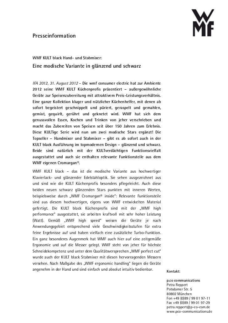 PresseinformationWMF KULT black Hand- und Stabmixer:Eine modische Variante in glänzend und schwarzIFA 2012, 31. August 201...
