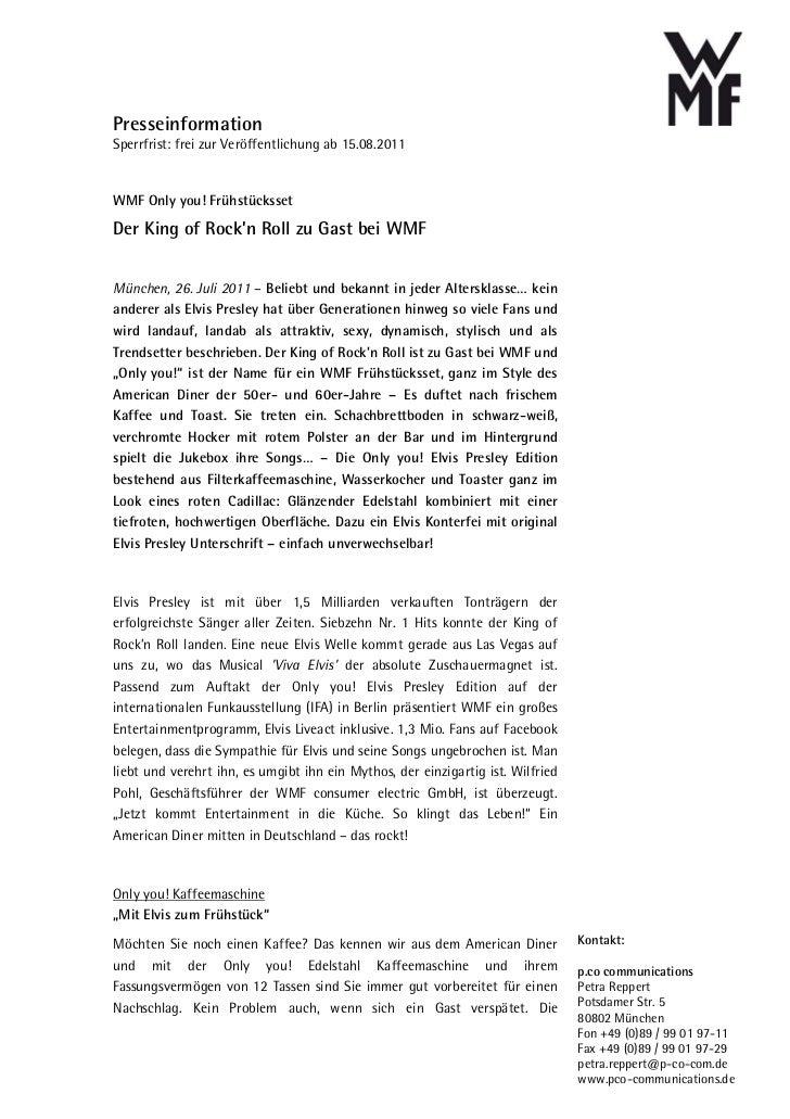 PresseinformationSperrfrist: frei zur Veröffentlichung ab 15.08.2011WMF Only you! FrühstückssetDer King of Rock'n Roll zu ...