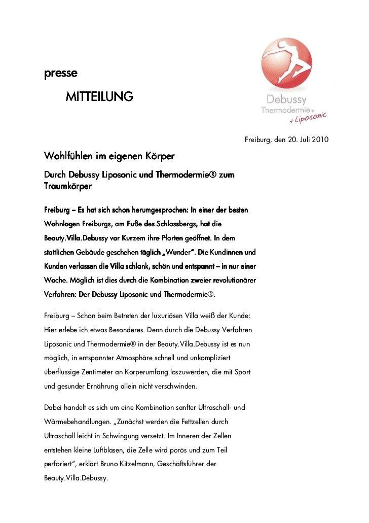presse       MITTEILUNG                                                                   Freiburg, den 20. Juli 2010Wohlf...