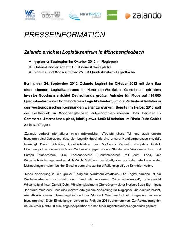 PRESSEINFORMATIONZalando errichtet Logistikzentrum in Mönchengladbach   •     geplanter Baubeginn im Oktober 2012 im Regio...