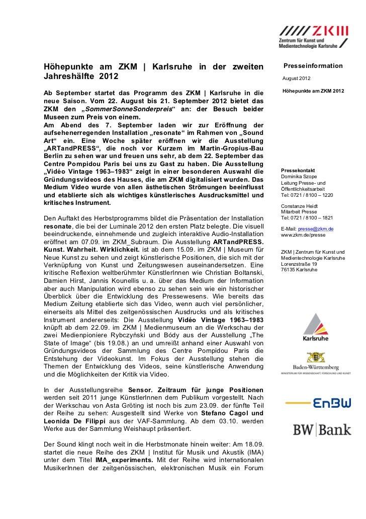 Höhepunkte am ZKM | Karlsruhe in der zweiten                                PresseinformationJahreshälfte 2012            ...