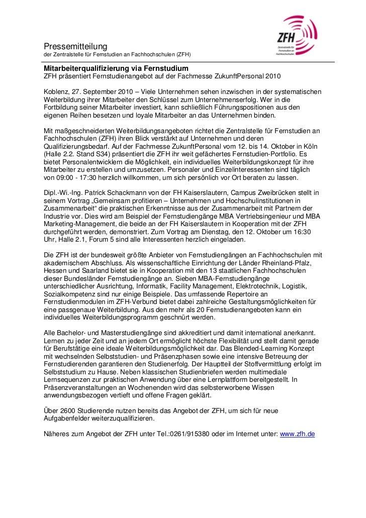 Pressemitteilungder Zentralstelle für Fernstudien an Fachhochschulen (ZFH)Mitarbeiterqualifizierung via FernstudiumZFH prä...