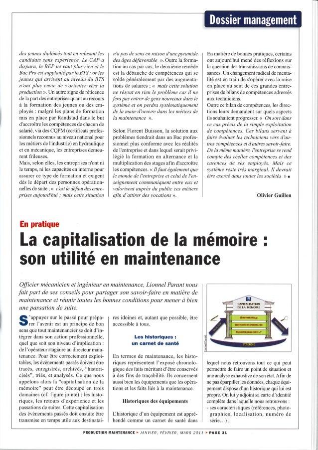 Capitalisation de la mémoire : son utilité en maintenance