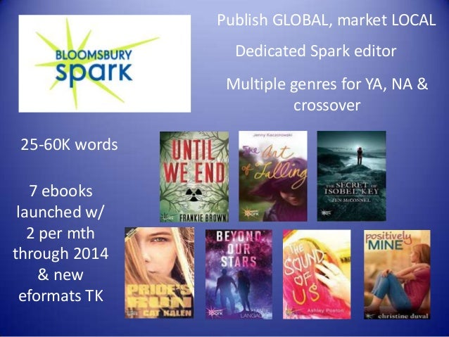 Publish GLOBAL, market LOCAL Dedicated Spark editor Multiple genres for YA, NA & crossover 25-60K words  7 ebooks launched...