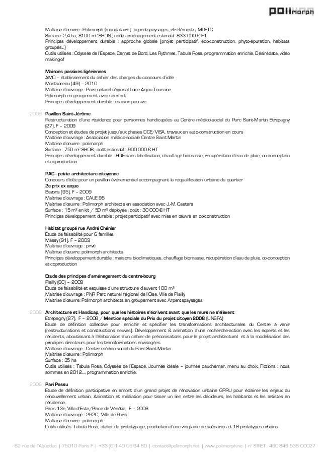 62 rue de l'Aqueduc   75010 Paris F   +33 (0)1 40 05 94 60   contact@polimorph.net   www.polimorph.ne   n° SIRET : 490 849...