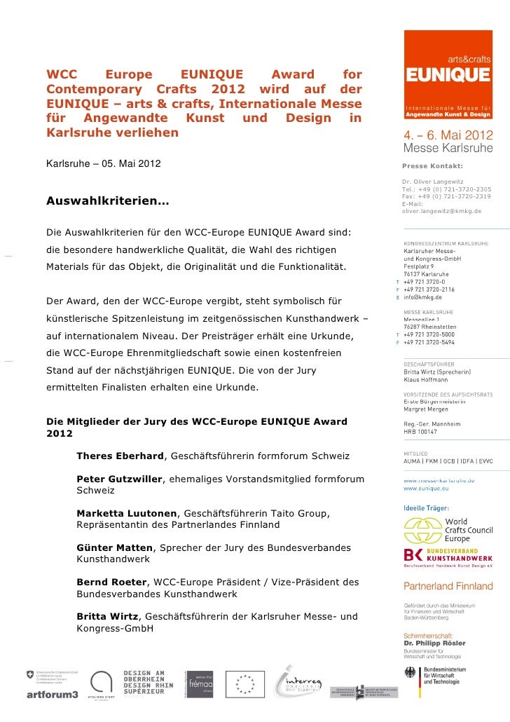 WCC     Europe      EUNIQUE     Award     forContemporary Crafts 2012 wird auf derEUNIQUE – arts & crafts, Internationale ...