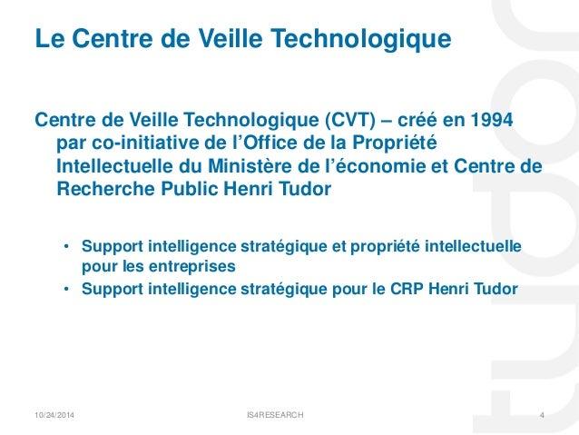 La veille au centre de recherche public henri tudor crpht par ser - Office de la propriete intellectuelle ...