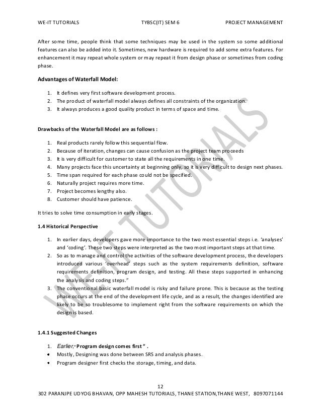 TYBSC IT SEM 6 PROJECT MANAGEMENT NOTES